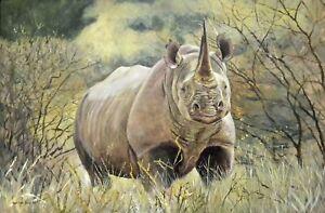 William John Jr Force of One Black Rhino 24x36 Acrylic Painting on Canvas
