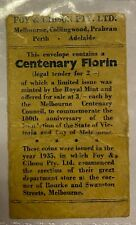 "Australian 1934/35 Melbourne Centenary Florin ""Foys"" Bag"