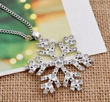 SNOWFLAKE PENDANT NECKLACE WITH CLEAR CRYSTALS LARGE CHRISTMAS STAR FLOWER