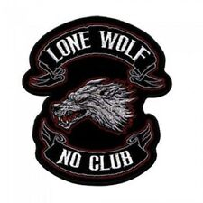 """Lone Wolf Patch 15"""" Motorcycle Motorbike biker colourfast embroidered sealed new"""
