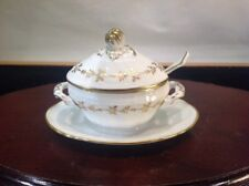 Extremely Rare Richard Ginori Made in Italy Mint Lidded Condiment Boat W/ Laddle