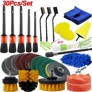 Power Scrubber Drill Brush Detailing Brush Set Car Air Vents Rim Cleaning Auto