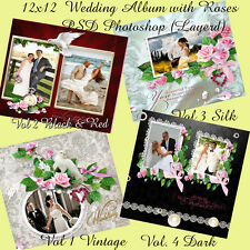 "Photoshop Wedding Photo Album Templates PSD 12x12"" ,Roses"