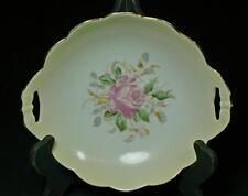 Vintage Antique Charles Ahrenfeldt Handled Serving Bowl With Pink Rose