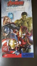 MARVEL AVENGERS VALENTINES CARDS / MASKS For Kids AGE OF ULTRON BOX OF 16