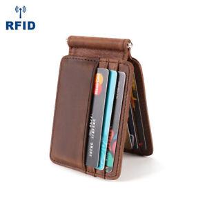 Mens Slim Money Clip Wallet Leather RFID Vintage Front Pocket Credit Card Holder