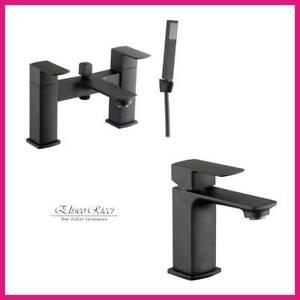 Black Bath Shower Mixer Tap Basin Mixer Tap Elisio Ricci Eco Click Technology...