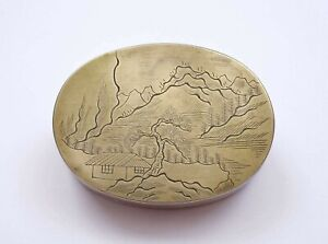 1930's Chinese Paktong Baitong White Copper Brass Scholar Ink Box Mountain Scene