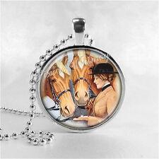 HORSE Pendant Necklace EQUESTRIAN WOMAN Handmade Glass Art Jewelry