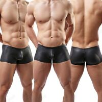 Brand Men's Leather Look Boxer Brief New Black Sexy Trunks Underwear S M L XL C2