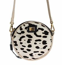 Preowned $700 DOLCE & GABBANA MISS GLAM Cow Print Hair Beige Leather Bag Purse