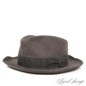 Stetson Made in USA Whippet Smoke Grey Felt Flannel CLASSIC Fedora Hat 61 7 5/8