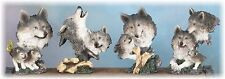 Wolf Head Bust Figurines--Set of 4 Resin Wolf Busts in various poses