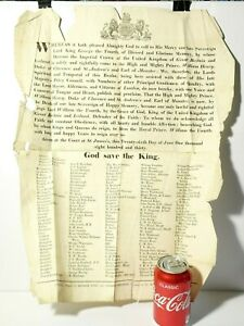 1830 Original Poster King William IV Ascension to Throne Official Declaration #B