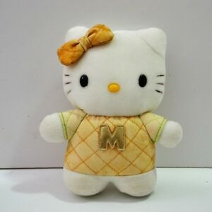 8 Inch Hello Kitty M Gold Quilted Shirt Bow SanrioVintage Retro 1999