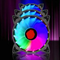 3X RGB LED Quiet Computer Case PC Cooling Fan 120mm with 1 Set of Remote Control