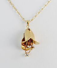 """Flower 42X22mm w/ Crystal Stamens Necklace 18+2"""" Chain Satin / Matte Gold Plated"""