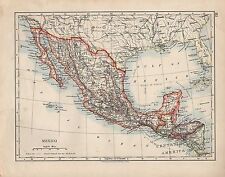 1909 MAP ~ MEXICO CENTRAL AMERICA GUATEMALA HONDURAS