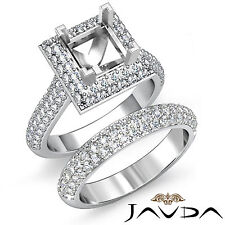 Diamond Engagement Ring Princess Wedding Band Platinum 950 Bridal Set 2.9Ct