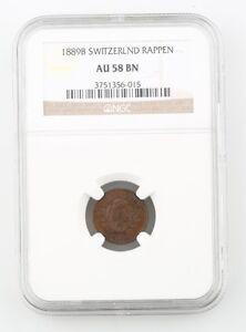 1889-B Switzerland 1 Rappen Coin Slabbed AU 58 BN NGC Graded Swiss KM 3.1