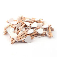 50x White Heart 3cm Mini Wooden Pegs Clips Party Favour Lolly Bag New photo clip