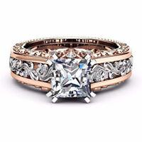 925 Silver White Topaz 18k Rose Gold Filled Wedding Birthstone Ring Sz 6-10