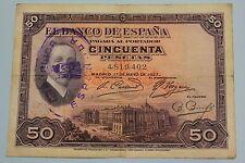"50 PESETAS 1927 SPAIN SELLO REPUBLICA ALFONSO XIII BANKNOTE PICK# 80 ""F"" crisp"