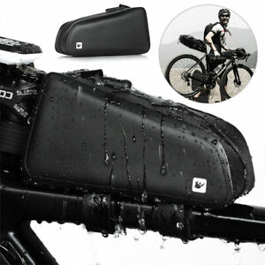 MTB Road Bike Bicycle Front Tube Bag Cycling Top Frame Pouch Waterproof Black