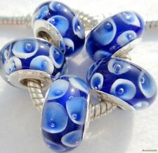 5PCS Silver Single Core Murano Lamp Glass Beads fit European Charm Bracelet A094