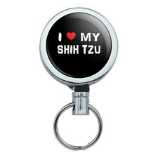 Metal Retractable Reel Id Badge Key Card Holder with Belt Clip I Love My Dog S-Y