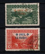 (YYAH 171) Bosnia Herzegovina 1915 USED SEMI Mi 91 - 92 Sc B3 - B4 Austria WWI