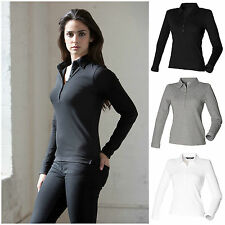 Ladies Long Sleeve Polo Shirt Slim Fit Fitted Top 8–18 Stretch Cotton Elastane