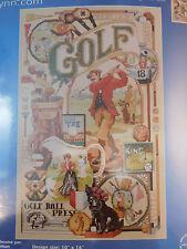 NIP Janlyn Counted Cross Stitch Kit GOLF NOSTALGIA 10 x 16 NEW