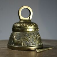 Brass sanctuary bell vintage ecclesiastical separate striker latin inscriptions