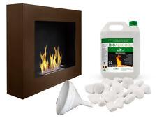 HQ BIO ETHANOL FIREPLACE DESIGN ECO FIRE BURNER + 5L FUEL FREE 580x490 BROWN