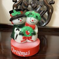 Vintage 1981 Frosty The Snowman Song Wind Up Couple Music Box Blow Mold Yuletide