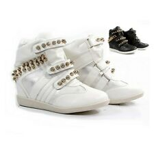 WOMENS LADIES SHOES WEDGE HIGH TOP BOOTS SNEAKERS TRAINERS  white black beige