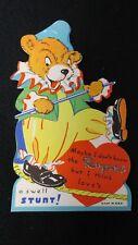 Vintage Dressed Circus Bear Valentine Card c. 1930s unused