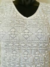 East 5 Th Womens Size PM White Shirt Open Weave Short Sleeve Stretch Textured