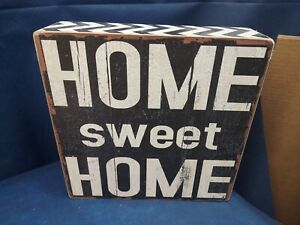 """Country Decorative Wooden Block Sign Black 12"""" Square Very Nice!"""
