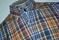 18337-a Peter Millar Button Up Dress Shirt Size Medium Plaids Mens
