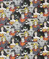 "Super Heros Batman Superman Wonder Woman FAT QUARTER cotton fabric 18""x21"""