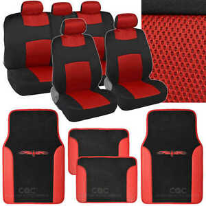 9 Pc Sporty Mesh Cloth Red / Black Seat Cover and 4 Pc PU Black Carpet Mats