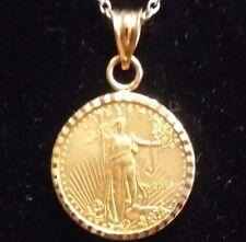 US Gold Eagle $ 5 1/10 Oz. 916/1000 22 K In 14k Solid Gold Bezel Pendant