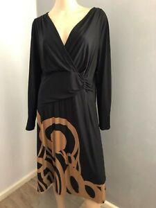 Bravissimo L/sleeve black brown print dress 16 curvy/really curvy EUC