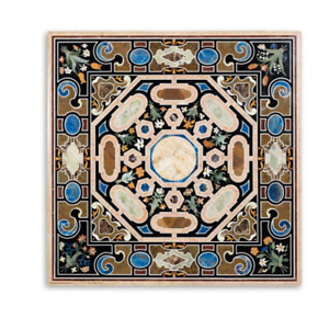 "36"" x 36"" marble coffee center Table Top semi precious stones inlay handmade art"