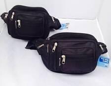 2x Quality Travel Waist Pouch Bum Bags - Black