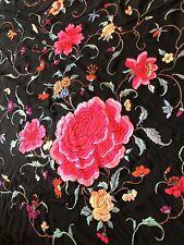 Antique Chinese Manton de Manila Silk Embroidered Piano Shawl Fuchsia Pink Black
