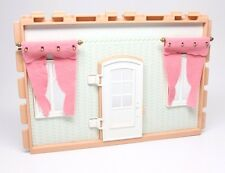 Playmobil Victorian Dollhouse Exterior Wall White Door Pink Curtains 5300