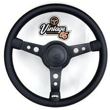 """Vw Transporter T4 Camper 15"""" Steering Wheel & Boss Horn Kit Satin Black Vinyl"""